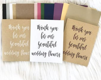 thank you for wedding florist - White/Kraft card - Black/White ink - FOLDED/FLAT card - modern calligraphy