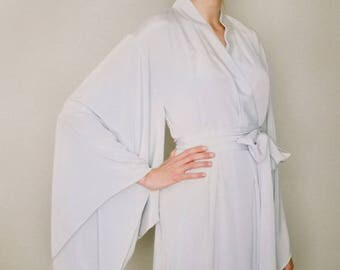 """One readymade """"Noguchi"""" kimono robe in faux silk. Long kimono bridal robe  Long silk kimono Grey Bridal robe Gift for her. US size 4-6"""