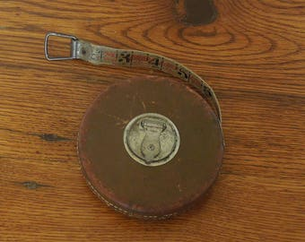 Antique Lufkin Linen Tape Measure 50' Leather Case Bell System Sterling