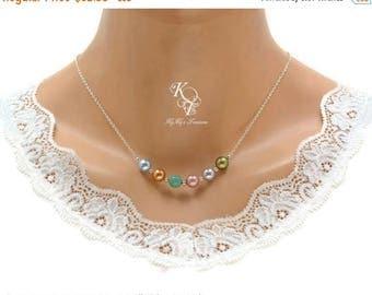 Mothers Necklace, Swarovski Birthstone Necklace, Family Birthstone Necklace, Grandma Necklace, Mom Necklace, Pearl Birthstone Necklace