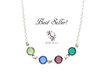 Birthstone Necklace, Mother Necklace, Birthstone Jewelry, Mothers Day Gift, Mom Gift, Sterling Silver Necklace, Christmas Gift, Mom Necklace