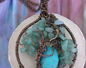 Vintage Blue Moon Tree Of Life Pendant