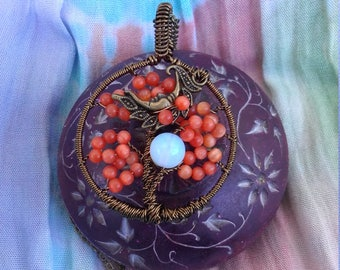 Vintage Moon Sunburst Orange Tree of Life Pendant