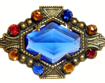 Edwardian Czech Glass Brooch Antique C Clasp Pin Multicolor Blue Yellow Red Brass 1900 Turn Of The Century Jewelry Gift Idea For Women