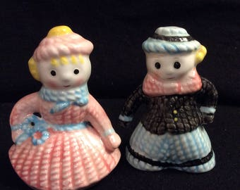 Vintage Girl and Boy Snowmen Salt and Pepper