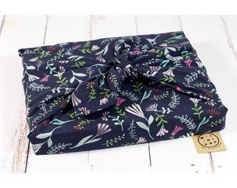 Organic cotton GOTS Navy flowers, wrapping furoshiki zero waste, durable, eco-friendly, reusable, 75 x 75 cm.