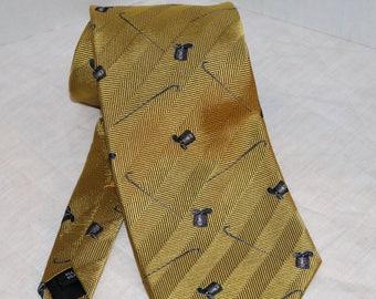 Vintage yApre' Men's Tie  - Top Hat Cane - 100% Silk - 1990s - Great Graphics - Dry Clean