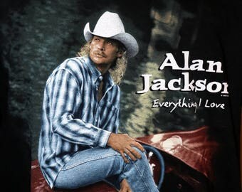 "Vintage 90s Alan Jackson ""Everything I Love"" Tour T-Shirt - Size XL - Alan Jackson Brand - 100% Cotton - Made in USA"