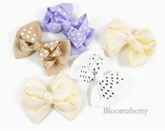"5 pcs  Set 2"" Double Layer Bows - Mixed Color- Grosgrain Bows/Boutique Bows - Everydaywear/School/Craft- White/Ivory/Beige/Lavender Color"