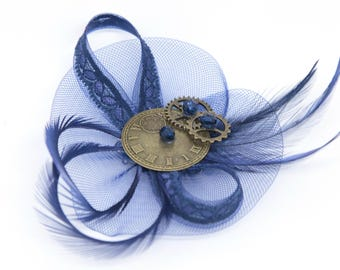 Navy blue steampunk inspired hair clip and brooch or corsage