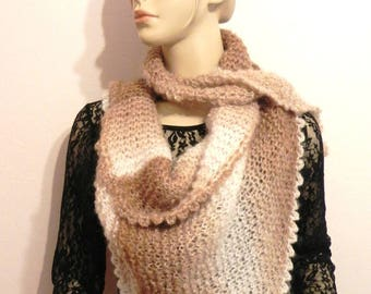 100% fashion women accessories Brown/Ecru mohair chic winter wool scarf scarf hand knitted scarf / shawl