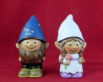 Custom Painted Gnome Cake Topper Set for Weddings- 5 inches, garden gnome, outdoor or indoor, wedding cake toppers