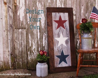 Exterior Stars Sign - Outdoor Stars Sign - Porch Sign - Sun Room Sign - Garden Sign -4th Of July Outdoor Sign-Rustic Americana Sign-18.25x43