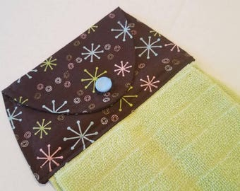 Modern Hanging Kitchen Towel, Button Top Dish Towel, MCM Kitchen Linens, Brown, Blue, Green, Stars, Swirls, Starburst, Mid Century Modern
