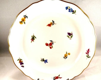 German Porcelain Dessert Plate, Multi-color Floral Motif, Gold Trim. Wedding Gift, Anniversary Gift, Hostess Gift, Thanksgiving