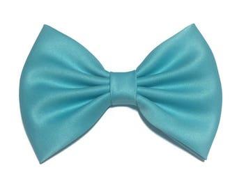 Blue Radiance Hair Bow, Satin Hair Bow Clip, Bows For Women, Kawaii Bow, Handmade Bow, Satin Fabric Bow, Lolita, Bow, Baby Girl Bow, ST022