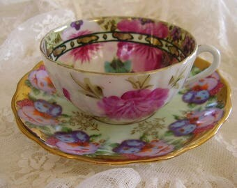 Mismatched Porcelain Tea Cup & Saucer Set