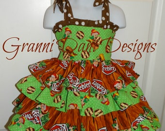 keebler chocolate cookie  dress tiered ruffle baby toddler girl 6 12 18 24 months 2t 3t 4t 5t 6 7 8