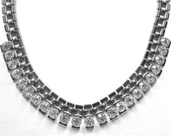 Modernist Statement  Necklace  Big Clear Rhinestones in Silver Links Vintage Necklace