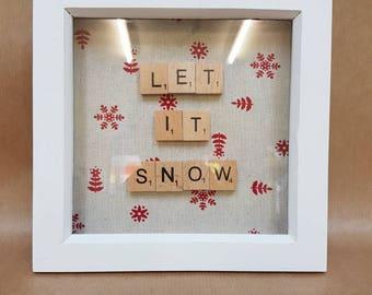 "Scrabnle tile frame ""Let it snow"""