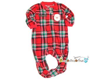 Baby's First Christmas Personalize Red Plaid Santa Clause Pajamas, Fleece Blanket Sleeper Pajama with feet, PJs, Sleep and Play