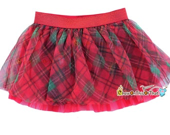 Christmas Red Plaid Ruffled Flared Tutu Skirt for Babies, Toddlers and Little Girls, Flared Ruffle with Satin Under Skirt Slip Lining