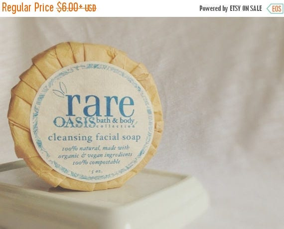 On Sale Vegan Cleansing Facial Soap - Zero Waste Soap - Facial Soap with Anti-Aging and Skin Balancing Properties