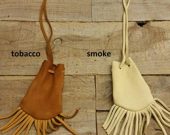 Deerskin leather pouch/ Medicine Bag, soft and supple with fringe C-10