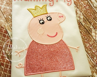 Peppa Pig Family Queen Mummy Pig Birthday Custom Tee Shirt - Customizable -   Adults 120 white