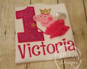 Fairy Princess Peppa Pig Birthday Custom Tee Shirt - Customizable -  Infant to Youth 296a hot pink