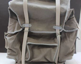 Vintage Rucksack Backpack Kurz  made in Germany Grey Canvas   hipster
