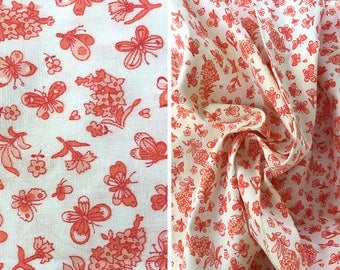 Vintage fabric by the yard | Destash sale vintage bright orange and white floral calico cotton fabric - price is per yard