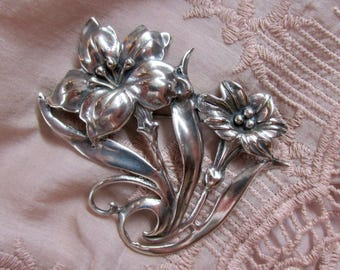 Hibiscus Flower Sterling Brooch Art Nouveau Vintage Jewelry Symbolic of Gentleness