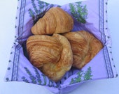 Croissants bread dinner rolls basket Stain resistant Provencal fabric Wipeable reversible foldable Choose the color: purple or grey