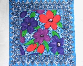 Vintage hippie/ethnic bright blue/white/red floral print scarf.