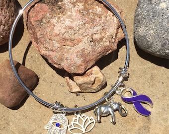 Purple Violet Ribbon bracelet - Hodgkins Hodgkin's Lymphoma Disease Survivor /Awareness Jewelry Craniosynstosis - Adjustable Silver
