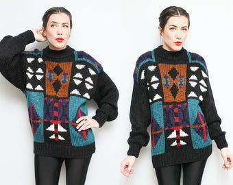 80s Geometric Holiday Sweater // 1980s Oversized Large Print Colorful Acrylic Sweater Size Medium