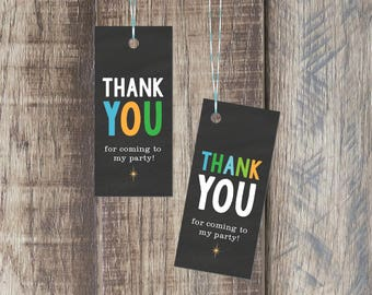 Thank You Tag For Kids Birthday Party - 1.25 x 2.75 Tag - Party Favor Tag - Printable PDF