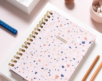 Lined Notebook, Pink Spiral Notebook, Terrazzo, Colorful Journal, Small Gift for a Friend, Paper Good Gift, Mom Present