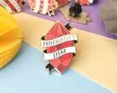 Philosopher's Stone Enamel Pin. Enamel Pin. Book Pin. Witchcraft and Wizardry. Book Lover. Bookworm. Literary Pin. Bookish Pin. Gemstone Pin