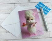 Marie Antoinette Hamster Card 'Marie Hamtoinette' Let Them Eat Birthday Cake Greeting Card Blank