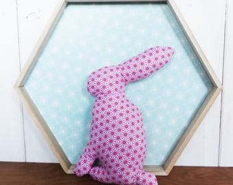 SMALL rabbit 21 cm fabric Rose star asanoha