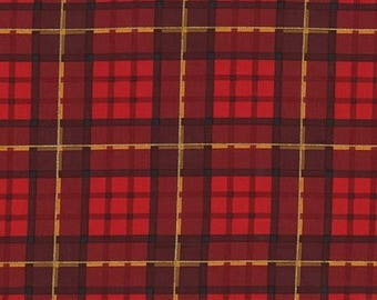 Christmas Fabric/Nutcracker Plaid/Metallic Gold/Red and Black/Cotton Material/Quilt, Craft/Fat Quarter, Half By The Yard, Yardage
