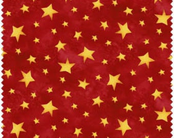 Christmas Fabric/Gold Metallic Stars/Choose Red or Green/Cotton Sewing Material/Quilting, Cloths, Craft/Fat Quarter, By The Yard, Yardage