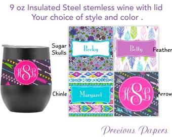 Personalized insulated steel stemless wine, southwest design wine, arrow print wine, sugar skull wine, insulated wine with lid