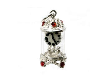 Sterling Silver Jewelled Red Carriage Clock Charm For Bracelets