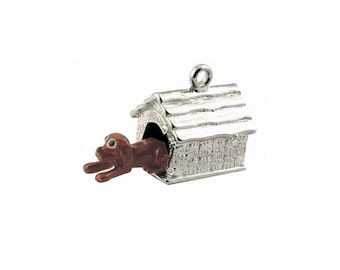Sterling Silver Movable Dog In Kennel Charm For Bracelets
