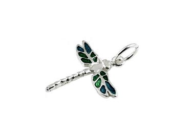 Sterling Silver Enamelled Dragonfly Charm For Bracelets