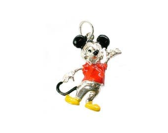 Sterling Silver Enamelled Mickey Mouse Charm For Bracelets