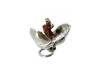 Sterling Silver Opening Squirrel In Acorn Charm For Bracelets